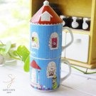 Moomin house series Porcelain Pair mug cup with lid Yamaka Made in Japan NEW