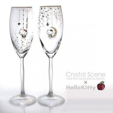 Hello Kitty x Swarovski Crystal Pair Champagne Glass Made in JAPAN NEW Sanrio FS