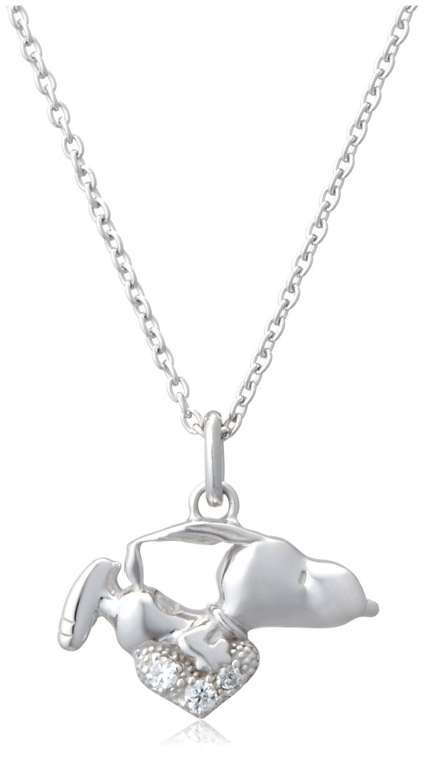 New Peanuts Snoopy Open Heart Zirconia Silver 925 Necklace KNSL0003 Gift BOX set