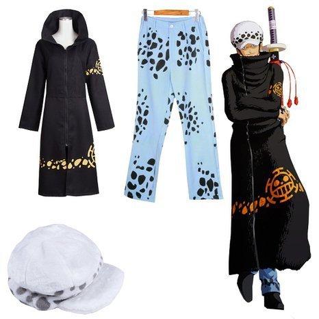 One Piece Trafalgar Law Cosplay Costume Set+Tattoo New World ver. from Japan F/S