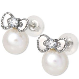 Hello Kitty Diamond Pearl Pierce Earrings Platinum 900 Sanrio Japan NEWF/S EMS