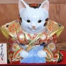 Kutani Ware Samurai Cat MANEKINEKO Fukusuke Beckoning Cat Ornament PotteryJapan