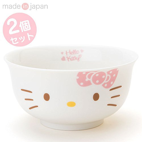 Hello Kitty Face Shape Ramen,Noodle Bowl 2pcs SET SANRIO NEW Free shipping