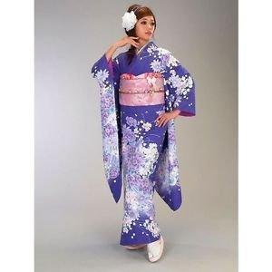 NEW Maiko Furisode Kimono set Blue Cherry blossoms yukata lobe M Kyoto Japan F/S