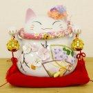Gift! Maneki NEKO SAKURA Lucky Cat Beckoning cat flower Piggy bank Japan NEW F/S
