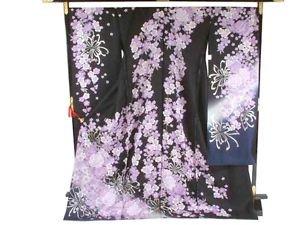 Maiko SILK Furisode-Kimono Set Purple Rose SAKURA Flower Dress M Kyoto NEWFS