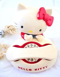 Rare!!1980s.Vintage Hello Kitty Dial Telephone RED Japan limited Collector FS