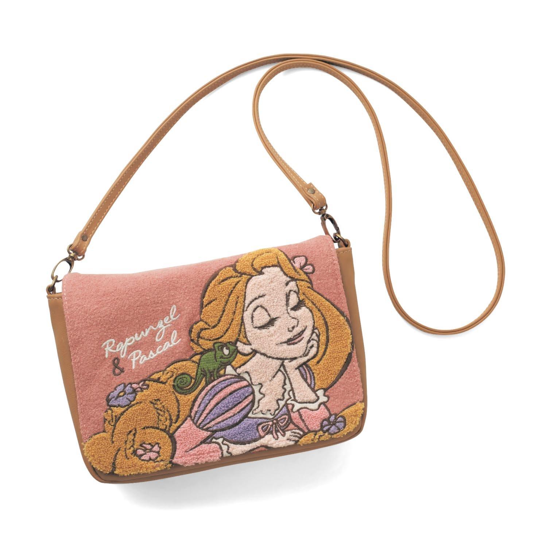Disney Rapunzel Pink Sagara embroidery shoulder bag 2Way tote Japan NEW FS