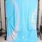 Barbie Maiko SILK Furisode Kimono set light Blue Flower yukata Dress M Japan FS