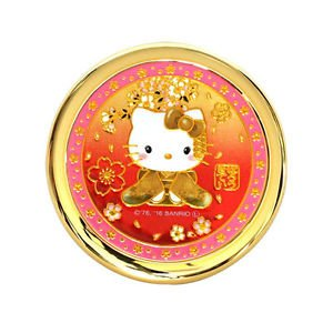 Hello Kitty Engraving Compact Hand Make up Mirror Cherry BlossomJapan LimitedNEW