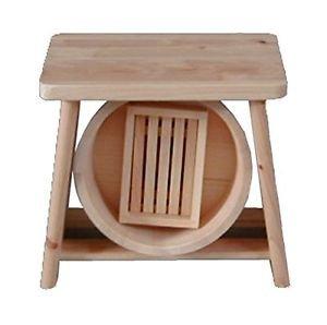 Made in JAPAN Hinoki Cypress bath set Wood Bath Stool Chair & OKE Set