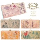 Disney Japan limited Leather print cowhide wallet Cinderella Ariel Rapunzel FS