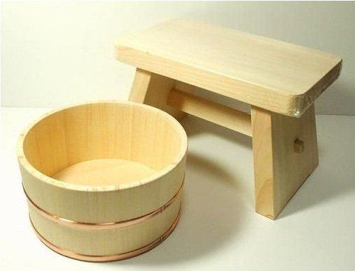 Real Hinoki Bath Sets Big Cypress Chair 30cm & Tub OKE Japanese Cypress NEW EMS