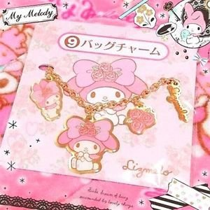 �Sanrio Lizmelo LizLisa � My Melody Rose bag Charm key chain pink NEW FS�