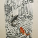 NEW Japanese Noren Doorway Ukiyoe Waterfall up of Carp Curtain 85x150 polyester