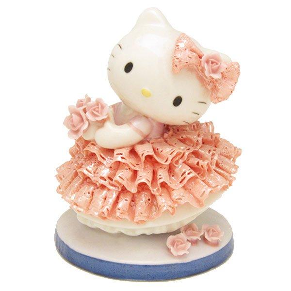 Hello Kitty Ceramic Lace Doll + Glass case Set JapanLimited Pottery PlushFigures