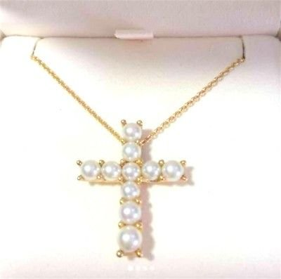 Authentic! MIKIMOTO cross Akoya pearl 18K Yellow Gold necklace Pendant JAPAN FS�