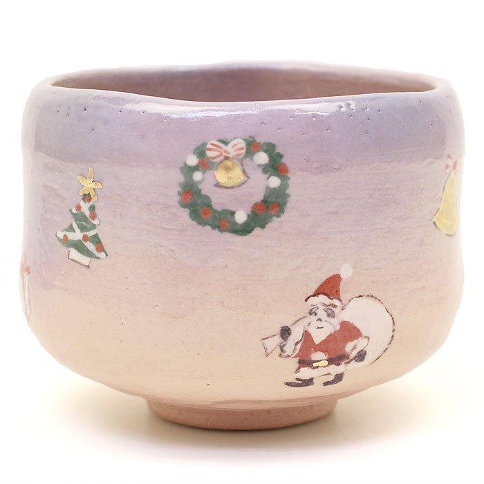 Gift Christmas tea cup  Matcha Bowl Santa Claus Raku ware Pottery JAPAN NEW FS