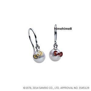 Gift Hello Kitty x MIKIMOTO Japan Akoya Pearl Ribbon Pierce Earrings CloisonneFS