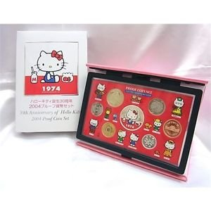 2004 Hello Kitty Silver Proof Coins Set 30th Anniversary Made In Japan NEW FS