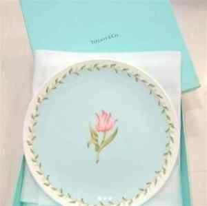 "Gift Tiffany & Co Pink tulip plate 24 cm 9.4"" light blue dish from JAPAN F/S"