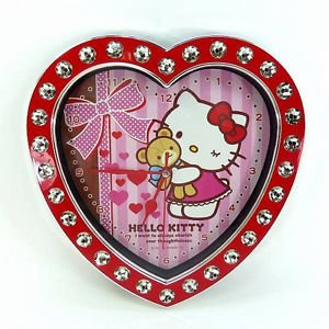 �Kawaii Hello Kitty Heart jewelry Wall Clock Red Ribbon from JAPAN FS�