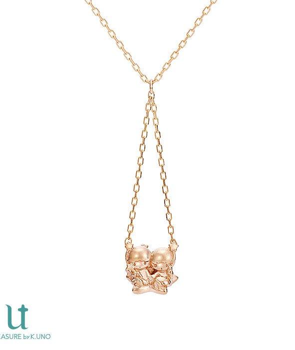 NEW Gift Little Twin Stars Kiki & Lara K18 pink gold necklace pendant JAPAN FS