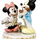 Disney Official Japan Pottery Lace Doll Music Box Micky & Minnie figurine FS