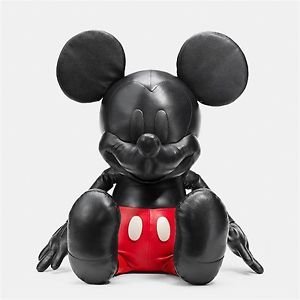 """COACH X DISNEY Mickey Mouse doll Plush Toys 38"""" LARGE Leather Figure Japan FS"""
