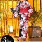 Butterfly + lily Maiko Yukata Set kimono Cotton Dress Red black M Flower FS NEW