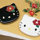 Hello Kitty BIG Camellia face Lunch Case Bento box Black White NEW Japan F/S