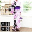 Purple Butterfly Maiko Yukata Set Rose Black kimono Cotton Dress M Flower FS NEW