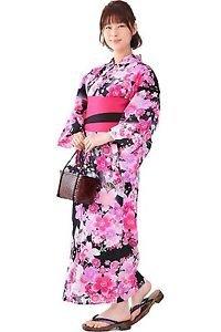 Maiko SAKURA Cherry Blossom Yukata set Kimono Cotton pink dress M Japan NEW FS