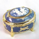 Gift Disney Mickey Oval Blue Jewelry Music Box'A small world' Blue FS JAPAN NEW