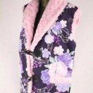 Sakura Kimono pattern Purple Hanten Jacket,Coat,Vest, Poncho Room Wear M-L NEW