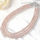 Pink Purple Freshwater Triple Pearl Long Necklace 6.5-7.0mm Silver pendant NEWFS