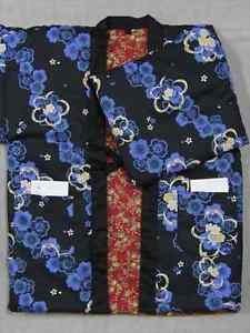 Women Hanten Blue Sakura Cherry blossoms dark red reversible coat Roomware M FS