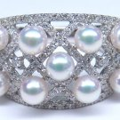 Akoya pearl 3.5mm UP Ring K18 WG white green pink diamond 0.48ct JAPAN NEW FS