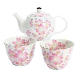 Mino ware SAKURA Cherry blossom teapot & cup Set Bowl from JAPAN FS