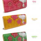 Snoopy SAKURA Long cowhide Wallet purse Cherry Blossom Pink Yellow Green JAPANFS