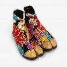 Unisex Japanese Traditional Kimono Shoes TABI SAKURA Flower Cotton NINJA ShoesFS