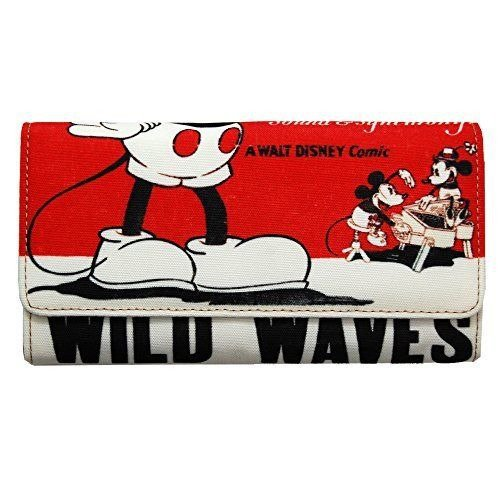 TDR Disney � ACCOMMODE Mickey Mouse Poster Art Long Wallet purse Red Vintage F/S
