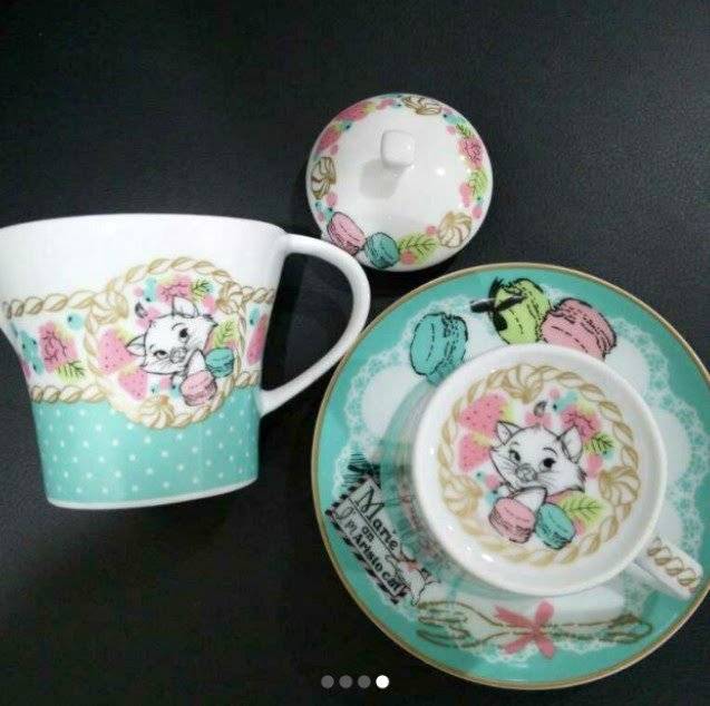 �Disney Aristo Cats Marie Macaron Teapot & Cup Set Light blue saucer NEWF/S�