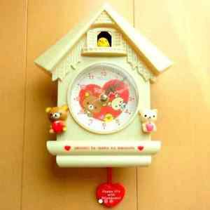 �San-x Rilakkuma Heart Wall Clock Mini Log House trick clock Ivory Japan NEW FS