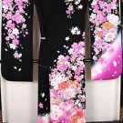 Maiko SAKURA Cherry blossom × peony pure Silk Frisode kimono purple pink M-L FS