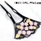 Maiko Conch shell & Pearl Sakura Cherry blossoms Ornamental hairpin KANZASHIPink