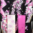 Maiko Pink Rose Peony Silk Frisode kimono + Obi Underwear Set purple Black M FS