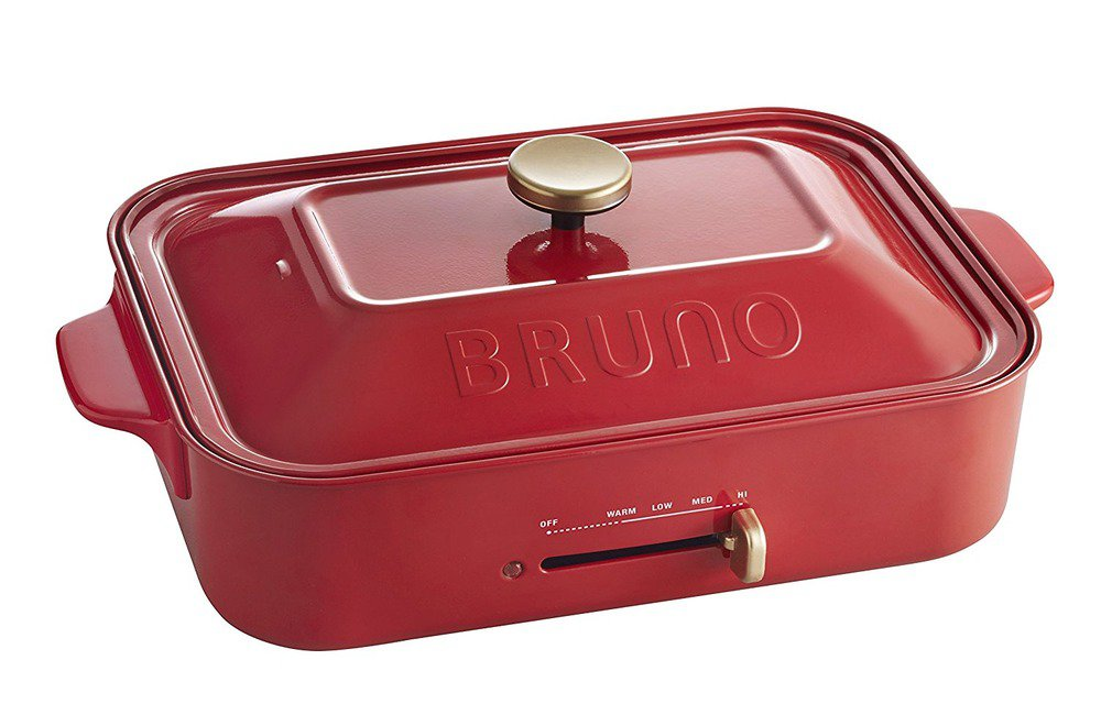 BRUNO Compact Hot 2 Plate SET pot Red BOE 021-RD Takoyaki Okonomiyaki Grill Pan