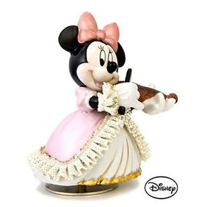 Japan limited Disney Official Pottery Lace Doll Music Box Minnie violin figurine