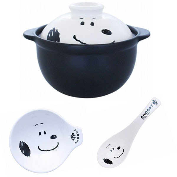 �Made in Japan! Snoopy Earthen pot & Earthen pot dish & spoon set NEW F/S�